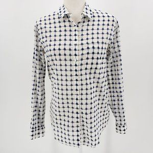 Madewell White & Blue Abstract Checker Shirt Small